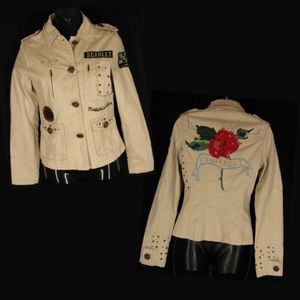 Moto Military Motorcycle Jacket XS Beige Rose Stud